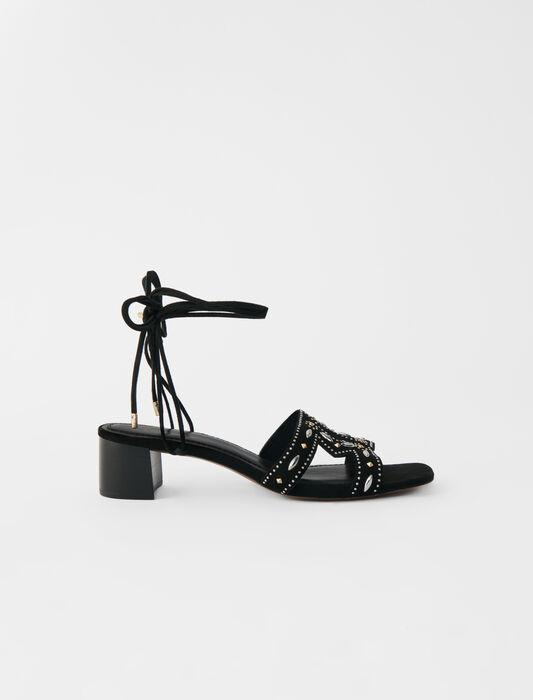 Schnürsandalen mit Nieten und Absatz : Pumps farbe Schwarz