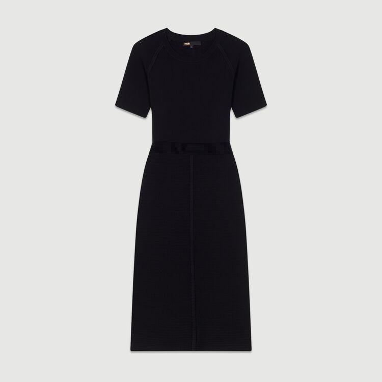 Kleid aus Stretch-Strick : Kleider farbe Schwarz