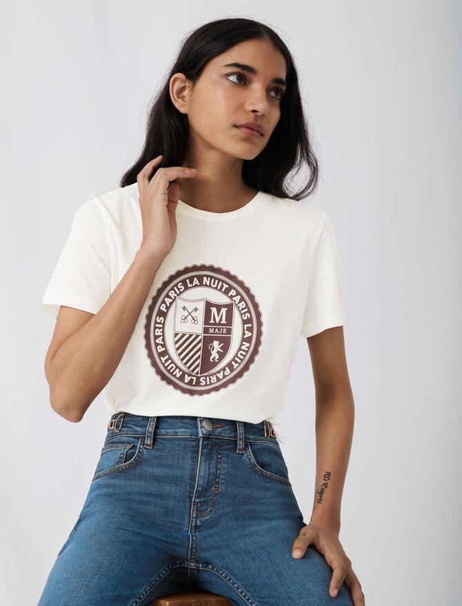 College-Shirt mit Siebdruck - T-Shirts - MAJE