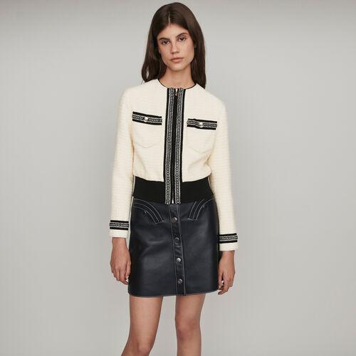 Tweed Jacke mit Reißverschluss : Winter Kollektion farbe Ecru