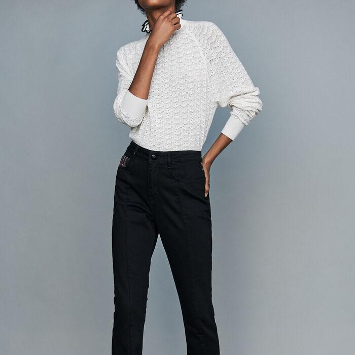 Gerade Jeans mit Tartan-Details : Jeans farbe Schwarz