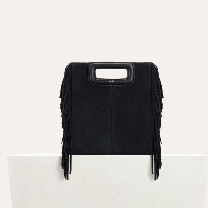 M-Tasche mit Fransen aus Veloursleder : M Tasche farbe Schwarz