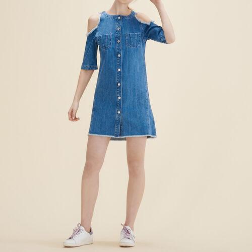 Kleid aus Jeans : Kleider farbe Blau