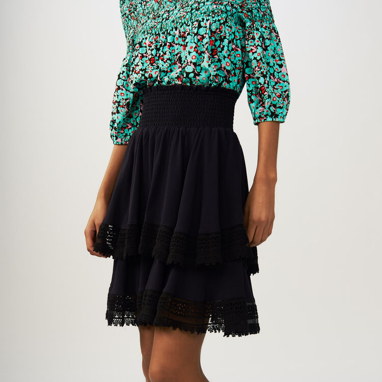 Flounced skirt with lace : Röcke & Shorts farbe Marineblau
