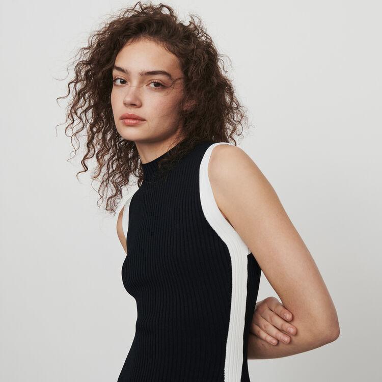 Split and contrasting ribbed dress : Kleider farbe Schwarz