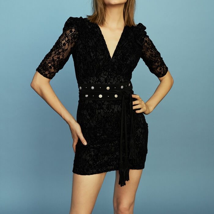 Spitzenkleid aus Velours : Bekleidung farbe Schwarz