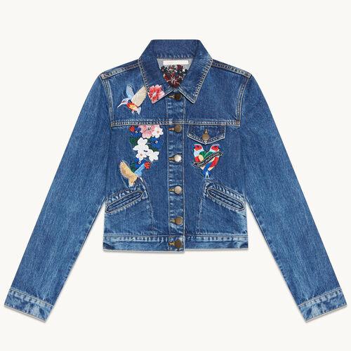 Blouson aus Jeans mit Stickereien - null - MAJE