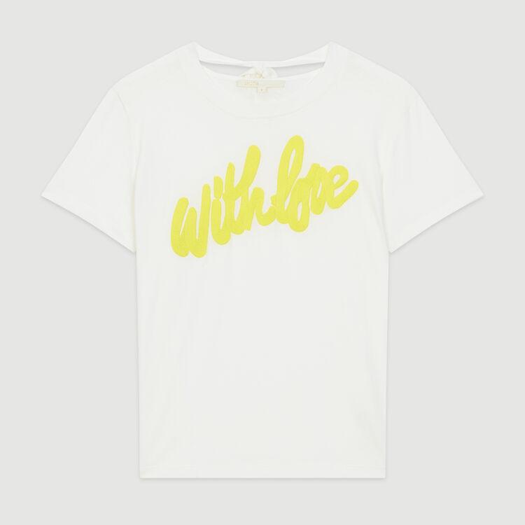 T-Shirt mit gestickter Aufschrift : T-Shirts farbe Weiss
