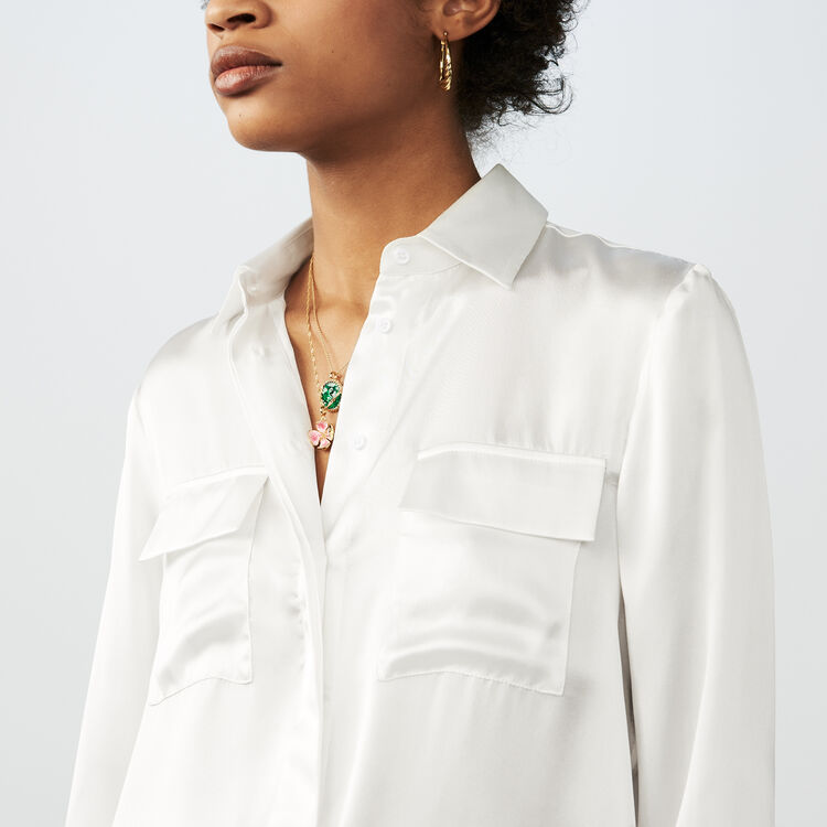 Fließendes Seidenhemd : Hemden farbe Weiss