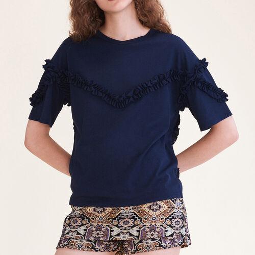 T-Shirt mit Rüschendetail - T-Shirts - MAJE