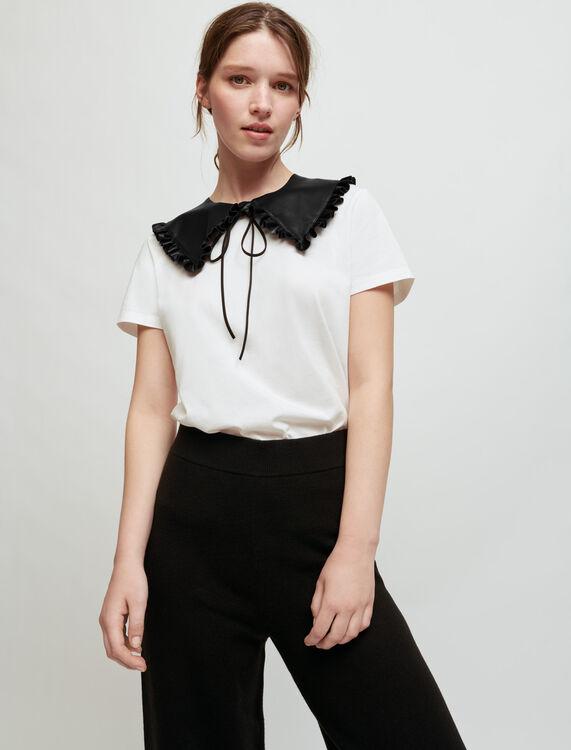 Weißes T-Shirt, abnehmbarer Lederkragen - T-Shirts - MAJE