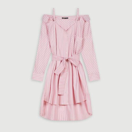 Oversize Hemdkleid mit Streifen : Kleider farbe Rosa