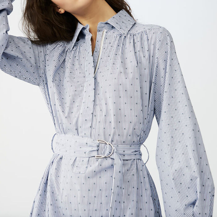 Long blouse-dress with buckle belt : Kleider farbe Blau