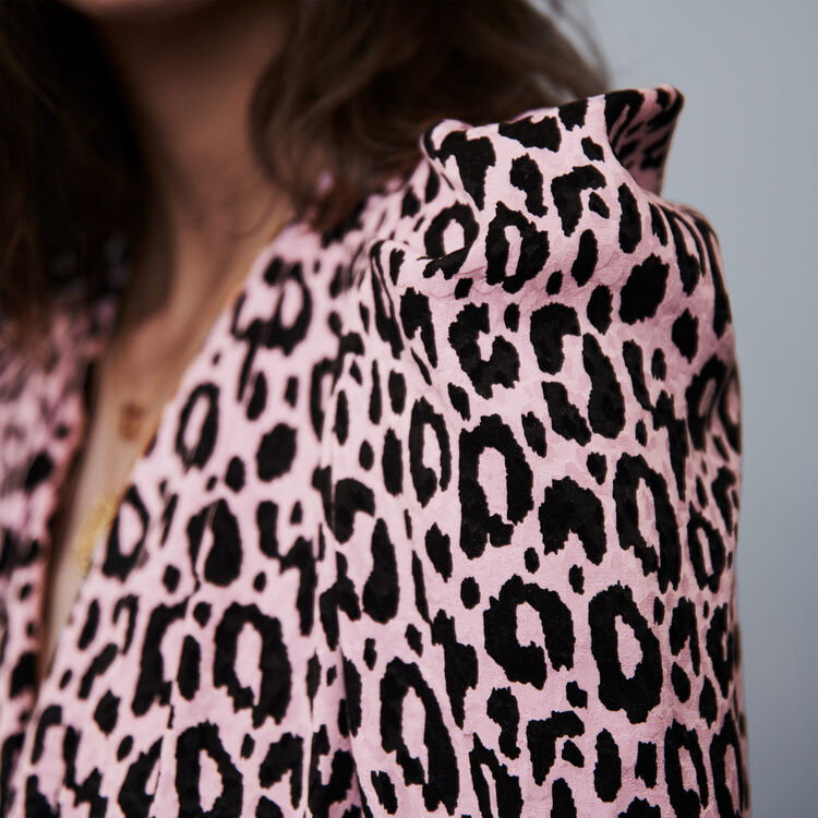 Drapiertes Kleid mit Jacquard Print : Kleider farbe Rosa