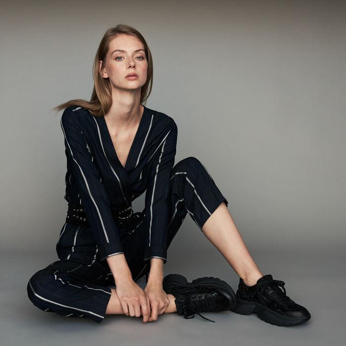 Gestreifter Hosen-Overall : Jumpsuits farbe Marineblau