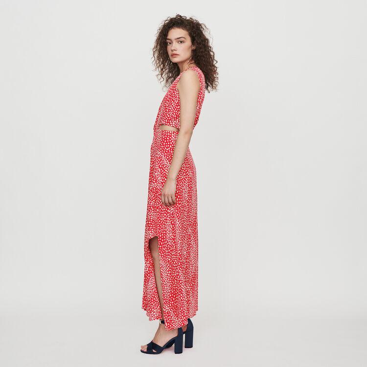 Langes Knoten Kleid mit Jacquard Print : Kleider farbe Rot