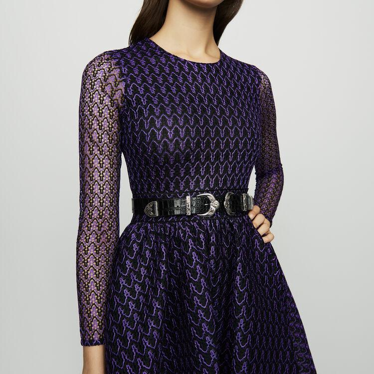 Skaterkleid aus Basket-Strick : Kleider farbe Violett