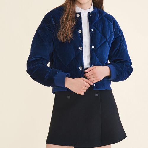 Kurze Bomberjacke aus Samt : Jacken farbe Marineblau