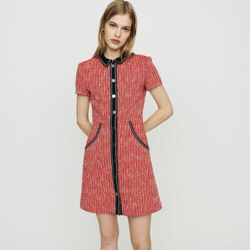 Kleid mit Tweed-Effekt : Kleider farbe Rot