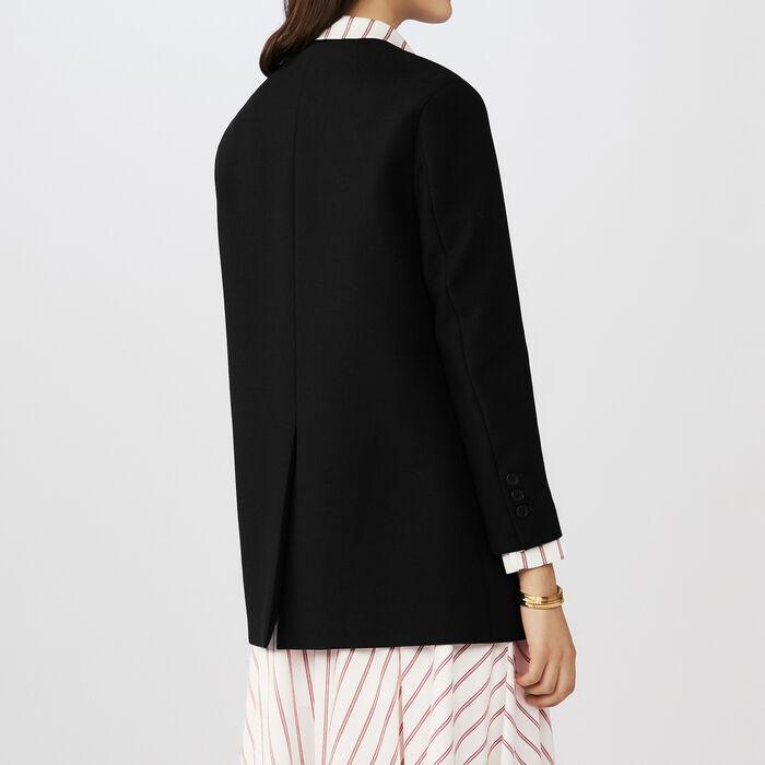 Schicke kragenlose Jacke aus Mischwolle : Blazers farbe Schwarz
