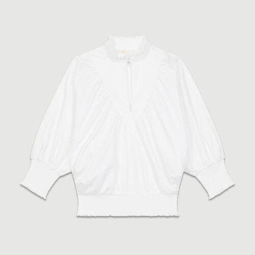 Baumwollpopeline-Bluse : Tops farbe Weiss