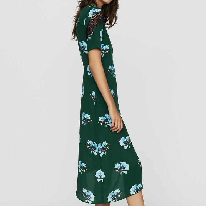 Asymmetrisches Print-Kleid mit Spitze : Kleider farbe IMPRIME