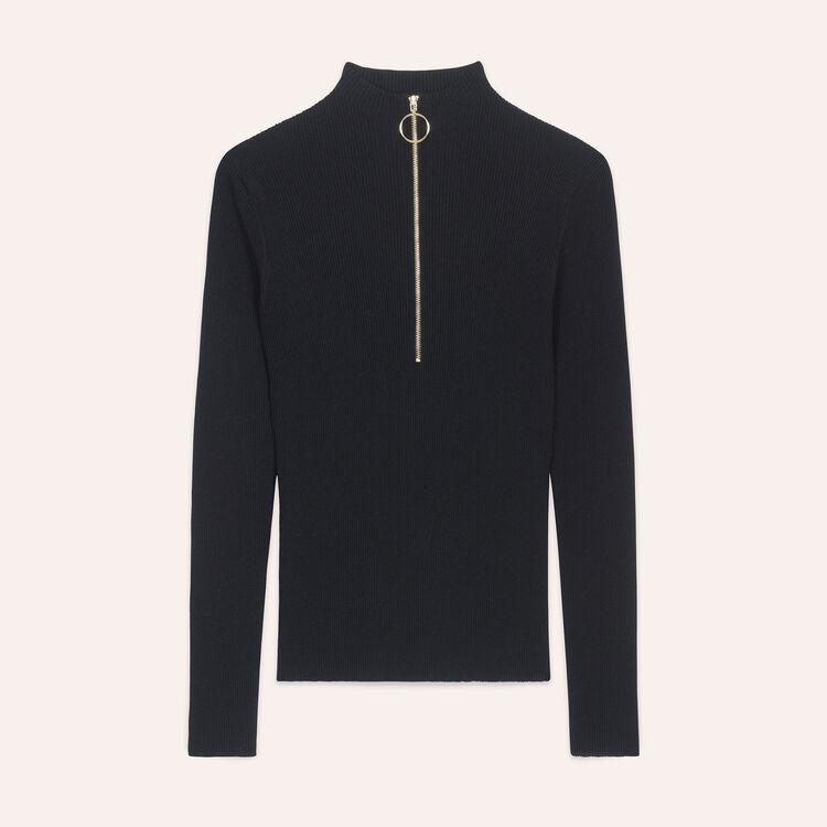 Feinstrickpullover mit Reißverschluss : Pulls & Cardigans farbe Schwarz