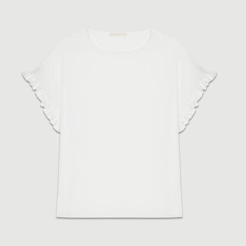 Lockeres T-Shirt mit gerafften Ärmeln : T-Shirts farbe Weiss