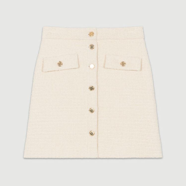 Trapezrock aus Tweed : Neue Kollektion farbe Ecru