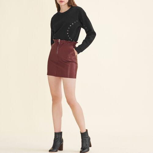 Lederrock mit Reißverschluss : Jupes & Shorts farbe Burgunderrot