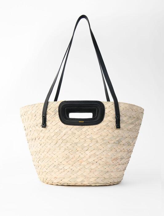 Korb aus geflochtene Palm und Leder : Alle Taschen farbe Schwarz