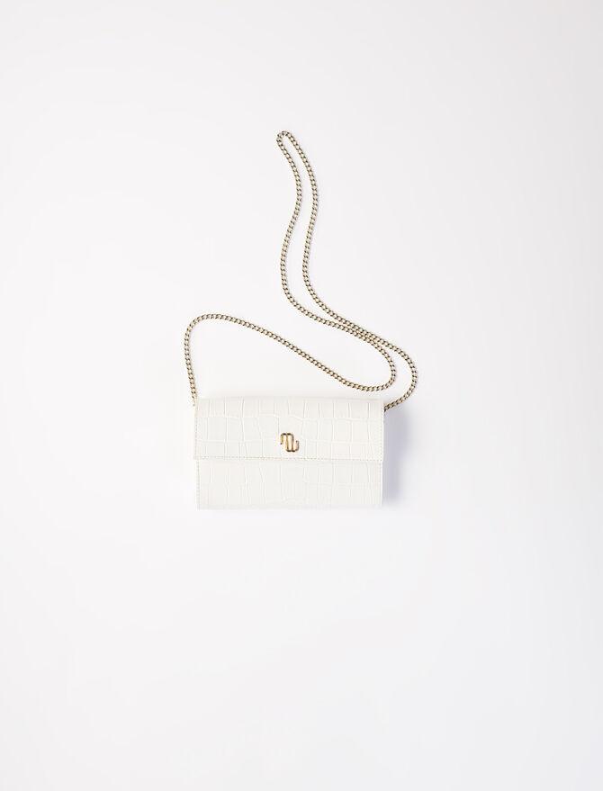 Brieftasche in Kroko-Optik mit Kette -  - MAJE
