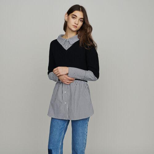 Kurzer Pullover mitTrompe-l'oeil-Hemd : Pullover & Strickjacken farbe Schwarz