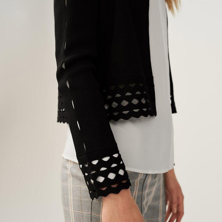 Cardigan mit Ajourdetails : Strickwaren farbe Schwarz