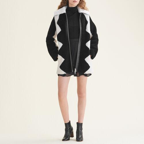 Mantel aus zweifarbigem Fellvelours : Manteaux farbe Zweifarbig