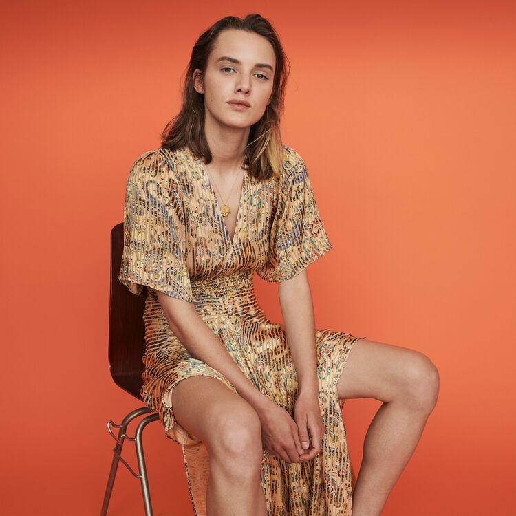 Gesmoktes Foulard Kleid mit Print : Kleider farbe Beige