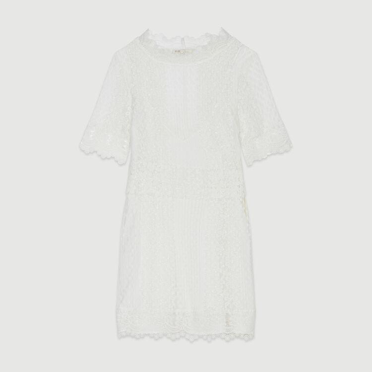 Kurzes Plumetis Kleid mit Spitze : Kleider farbe Weiss