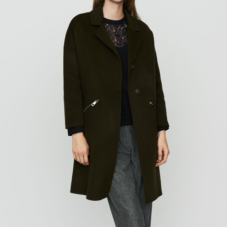 Doppelseitiger Wollmantel : Mäntel farbe Khaki