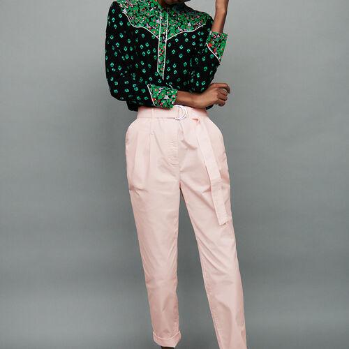 Karottenhose mit Gürtel : Hosen farbe Hellrosa