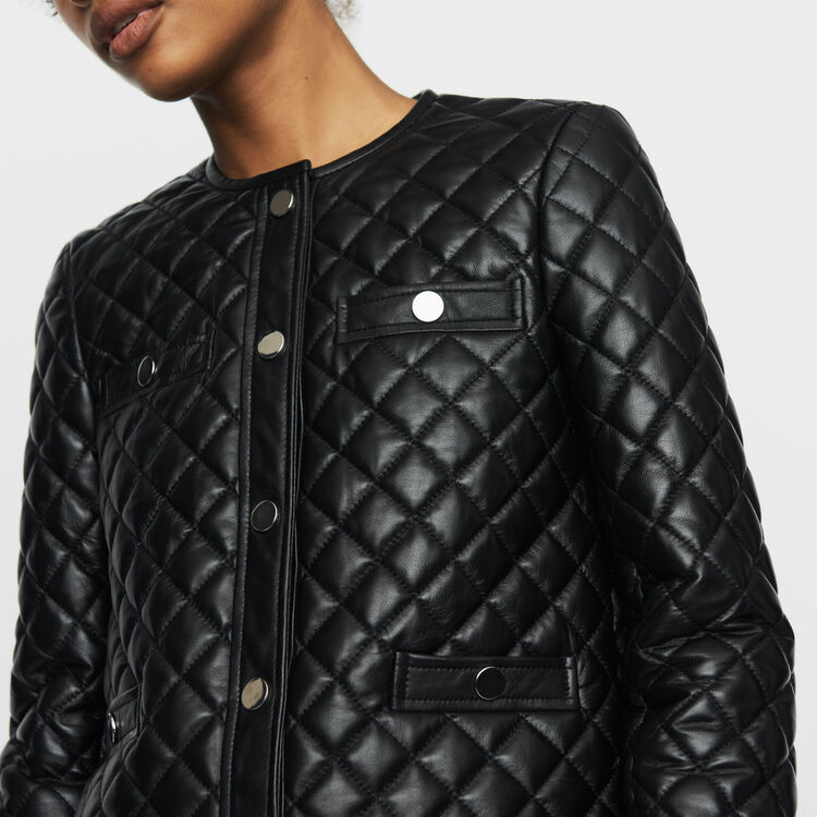 Jacke aus gestepptem Leder : Urban farbe SCHWARZ