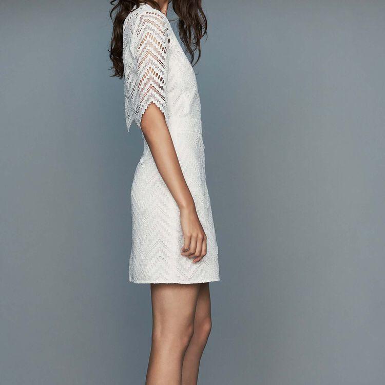 Gerades Spitzenkleid : Kleider farbe Weiss