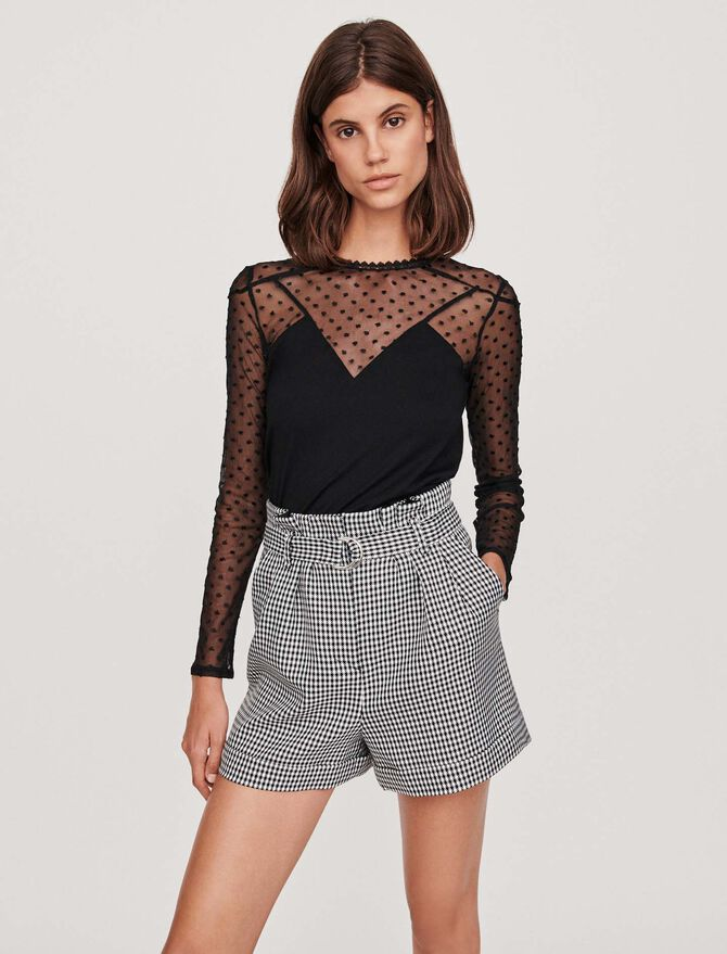 Top with long plumetis sleeves -  - MAJE