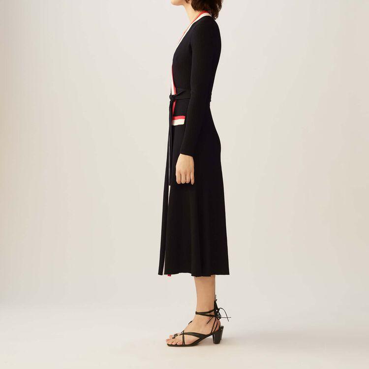 Langes Wickelkleid aus Strick : Kleider farbe Schwarz