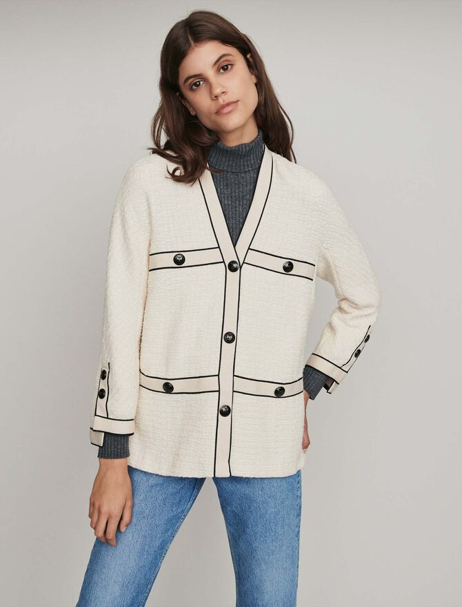 Jacke mit kontrastierenden Tweed -  - MAJE