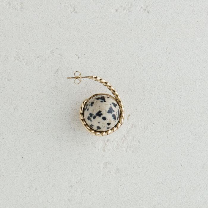 Rechter Ohrring mit Natursteinkugel : Schmuck farbe Off-White