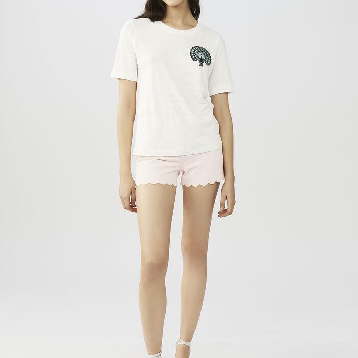 T-Shirt mit Stickerei : T-Shirts farbe ECRU