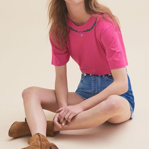 T-Shirt mit Stickerei Freitag : T-shirts farbe Rosa