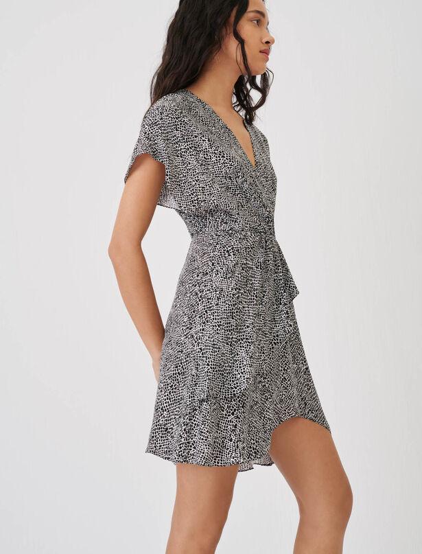 마쥬 원피스 MAJE Asymmetrisches Kleid mit Animalprint,Animalier Noir Blanc
