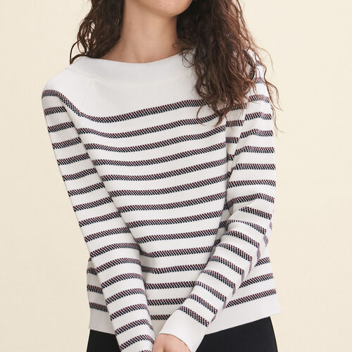 Matrosenpullover aus melierter Wolle : Pulls & Cardigans farbe Ecru