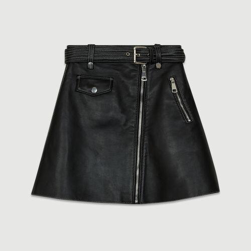 Ausgestellter Lederrock : Alles einsehen farbe Schwarz